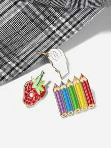Strawberry & Pencil Brooch Set 3pcs