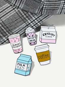Milk Box & Cup Brooch Set 5pcs