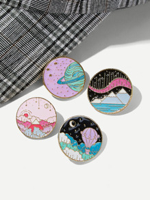 Painting Engraved Round Brooch Set 4pcs