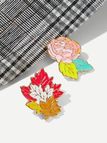 Flower & Leaf Shaped Brooch Set 2pcs