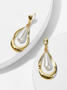 Faux Pearl Detail Water-drop Earrings 1pair