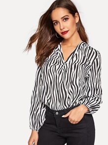 V Neck Zebra Pattern Top