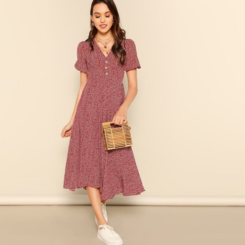 Button Front Allover Print V-neck Dress, Burgundy