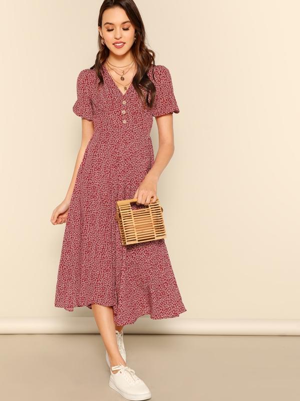 db5f8edc71 Shoptagr | Button Front Allover Print V Neck Dress by Shein