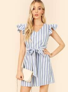 Ruffle Cap Sleeve Self Belted Striped Dress