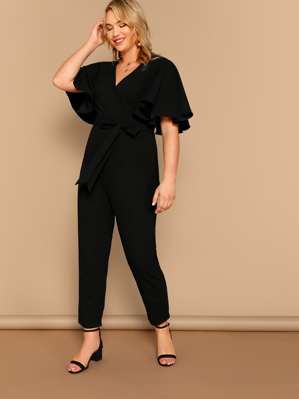 97efd246a49a Plus Butterfly Sleeve Surplice Wrap Belted Jumpsuit