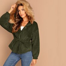 High Low Corduroy Parka Coat With Faux Fur Hoodie