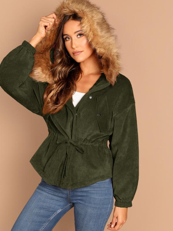 c8ef3578ea High Low Corduroy Parka Coat With Faux Fur Hoodie   SHEIN