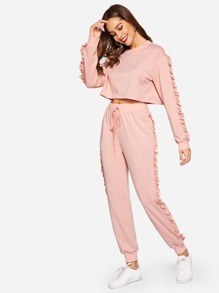 Ruffle Trim Sweatshirt and Drawstring Waist Sweatpants Set