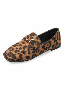 Leopard Pattern Slip On Loafers