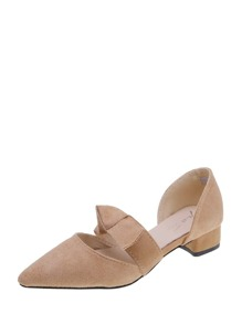 Point Toe Knot Decor Suede Flats