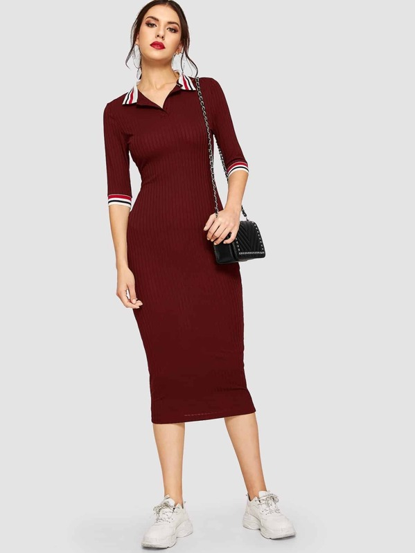 54d3ce2207e4 Striped Collar and Cuff Ribbed Knit Dress | SHEIN IN