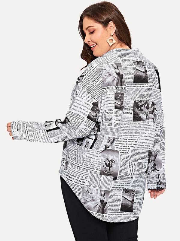 afb5a9026 Plus Newspaper Print Curved Hem Shirt   SHEIN