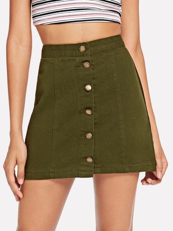 345cd19fa56 Button Front Stretch Denim Skirt   SHEIN