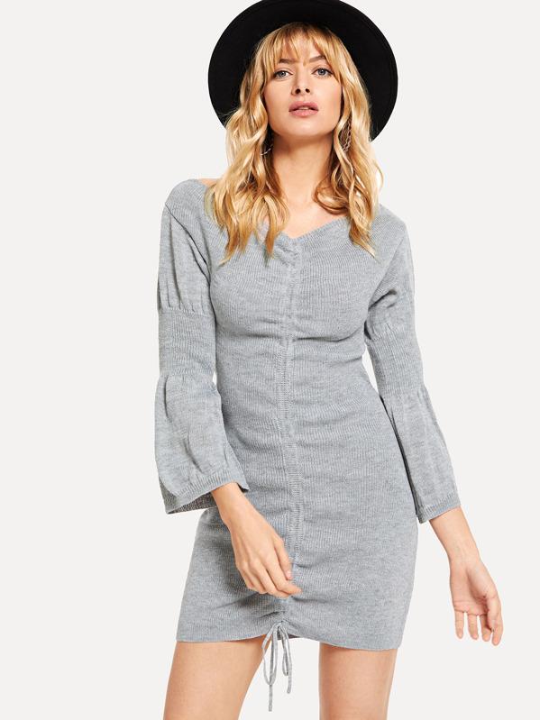 12bd63ce92 Flounce Sleeve Drawstring Knit Dress