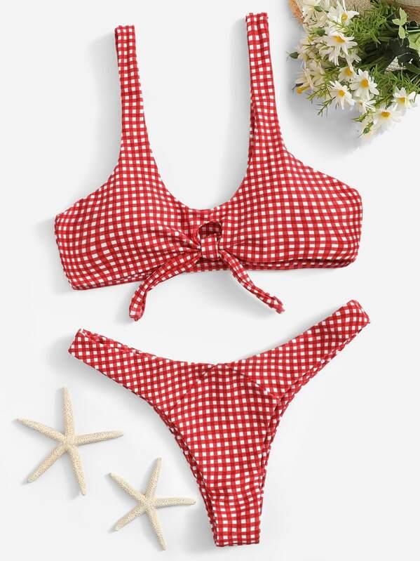 16254a6a2a7e3 Knot Front Gingham Bikini Set | SHEIN