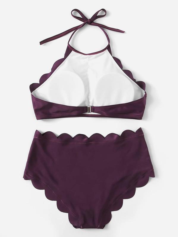 794f2f988b18 Scalloped Trim Halter Top Med High Waist Bikini | SHEIN SE