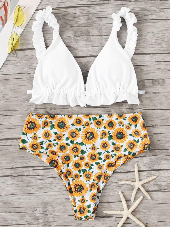 c427259f49 Frill Strap Top With Random Sunflower High Waist Bikini | SHEIN