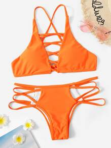Criss Cross Top With Panty Bikini Set