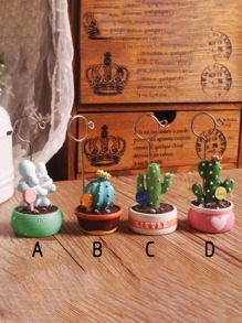 Artificial Potted Cactus Decorative Object 1pc