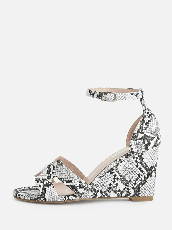 4eeff857b907 Cheap Snakeskin Print Ankle Strap Wedges for sale Australia   SHEIN