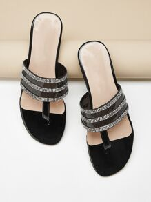 Rhinestone Decor Toe Post Flat Slippers