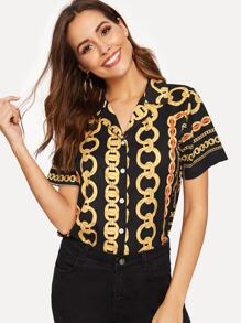 Chain Print Button Through Blouse