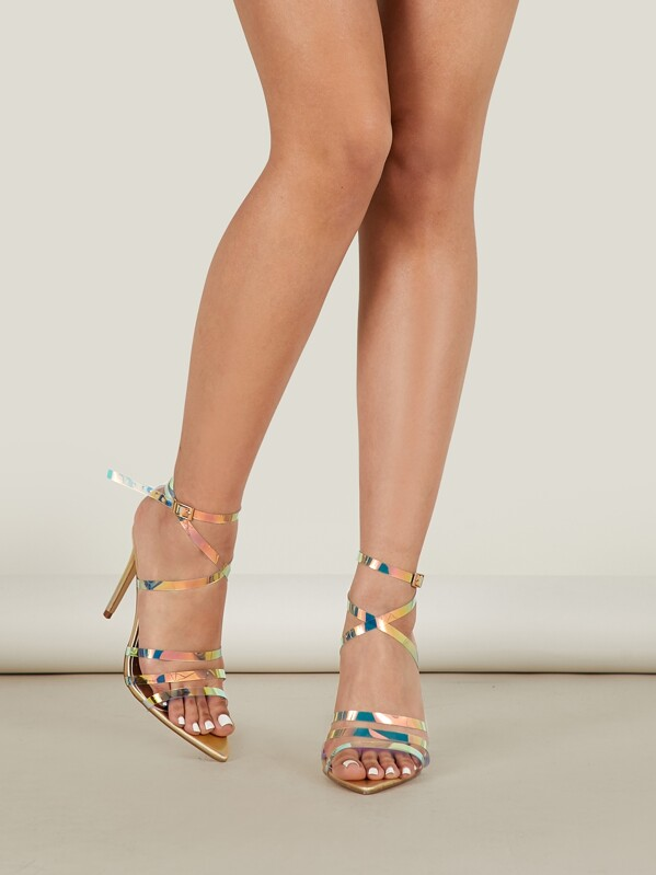 9f8992303deb Iridescent Clear Strappy Metallic Heeled Sandals