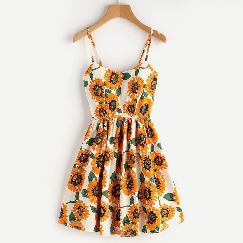 Размера плюс платье на бретелях с цветочным принтом