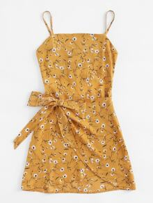 Plus Knot Tulip Hem Calico Cami Dress