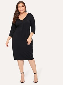 Plus Button Front Solid Dress