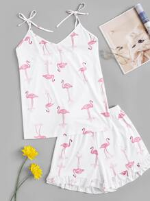 Plus Flamingo Print Knot Pajama Set