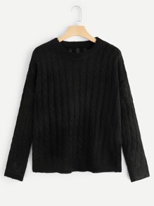 Plus Solid Cable Knit Sweater