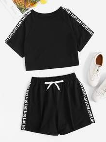 Letter Tape Raglan Sleeve Crop Tee With Shorts
