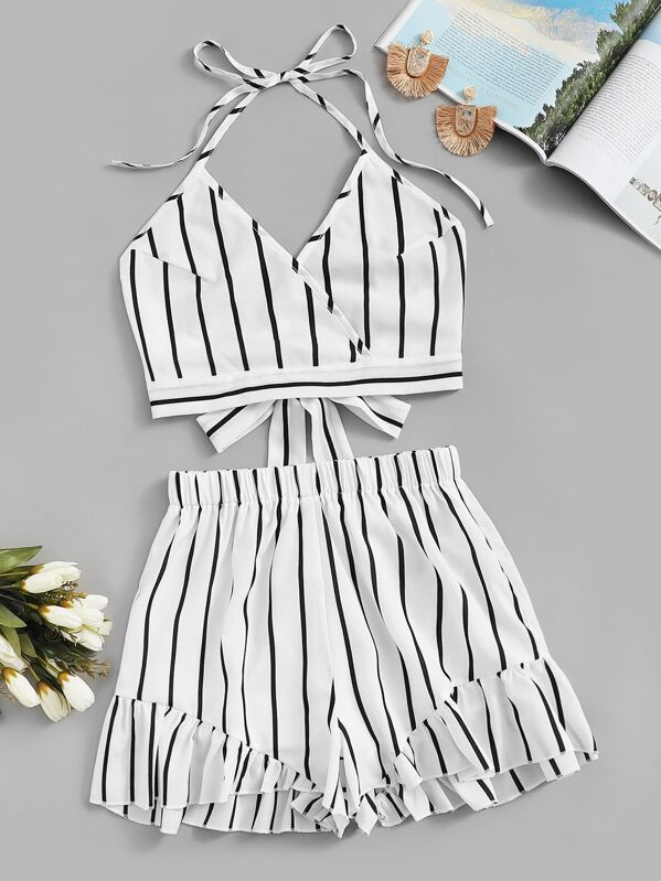 Striped Knot Back Halter Top With Shorts by Sheinside