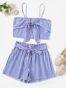 Plus Striped Zipper Cami Top With Shorts