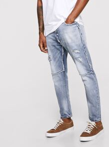 Men Ripped & Raw Hem Detail Wash Jeans