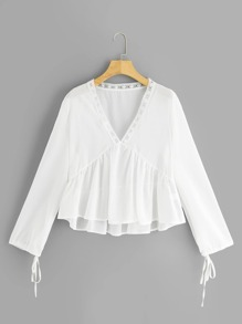V-neck Lace Panel Knotted Cuff Blouse