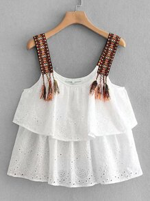 Eyelet Embroidery Tassel Cami Top