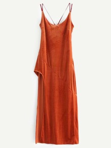 Cross Back High Split Velvet Cami Dress