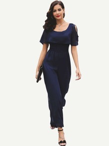 Open Shoulder Ruffle Trim Jumpsuit