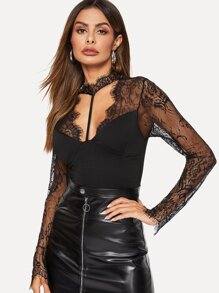 Harness Choker Neck Open Back Lace Top