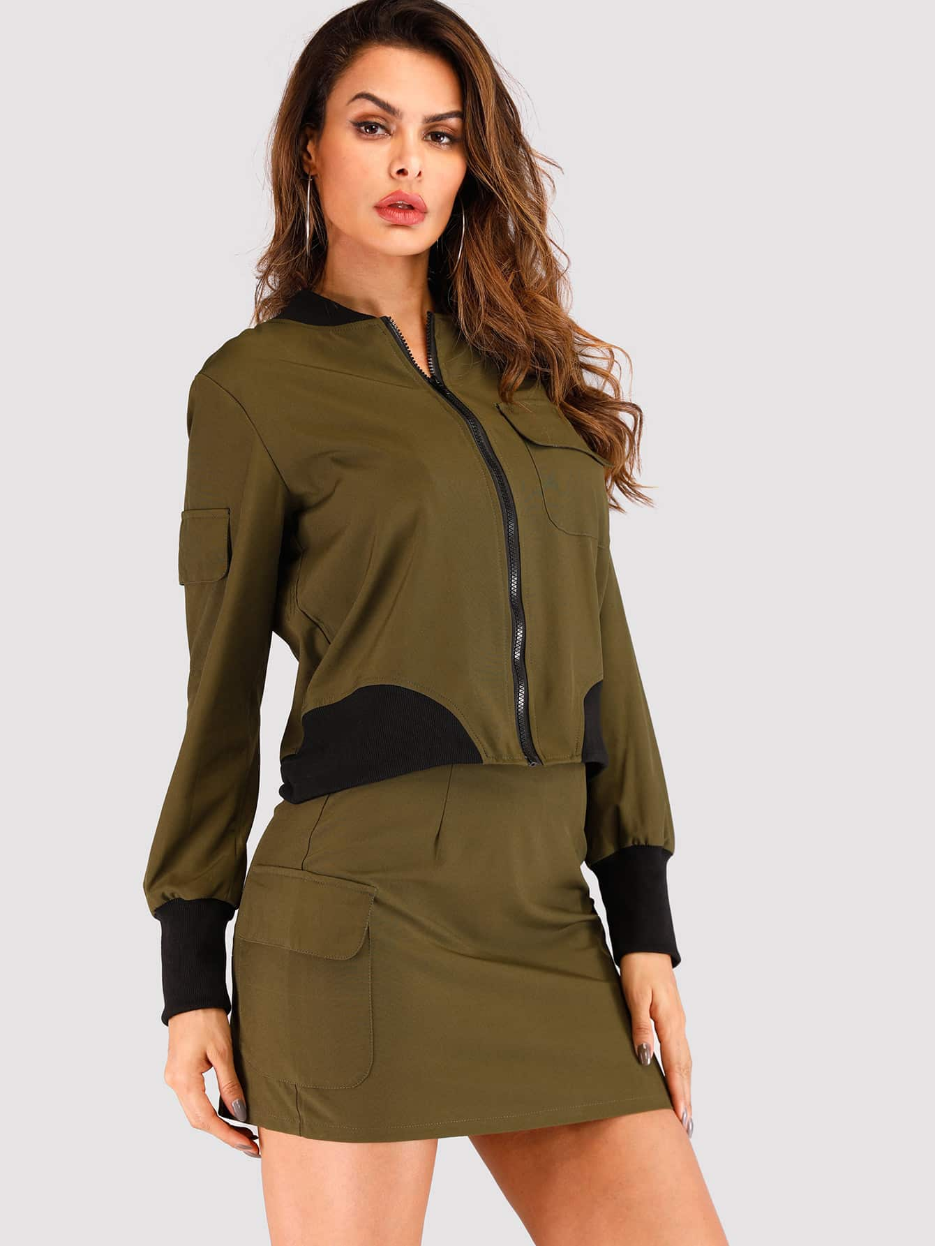 02b2508ce5b Zip Up Cut And Sew Jacket With Skirt EmmaCloth-Women Fast ...