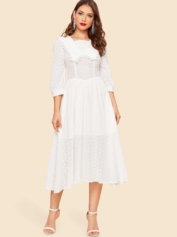 40s Square Neck Lace Eyelet Solid Dress by Shein