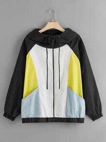 Plus Raglan Sleeve Colorblock Windbreaker Hooded Jacket