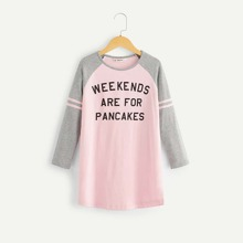 Girls Striped Raglan Sleeve Slogan Print Nightdress
