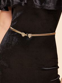 Leopard Head Shaped Buckle Metal Skinny Belt