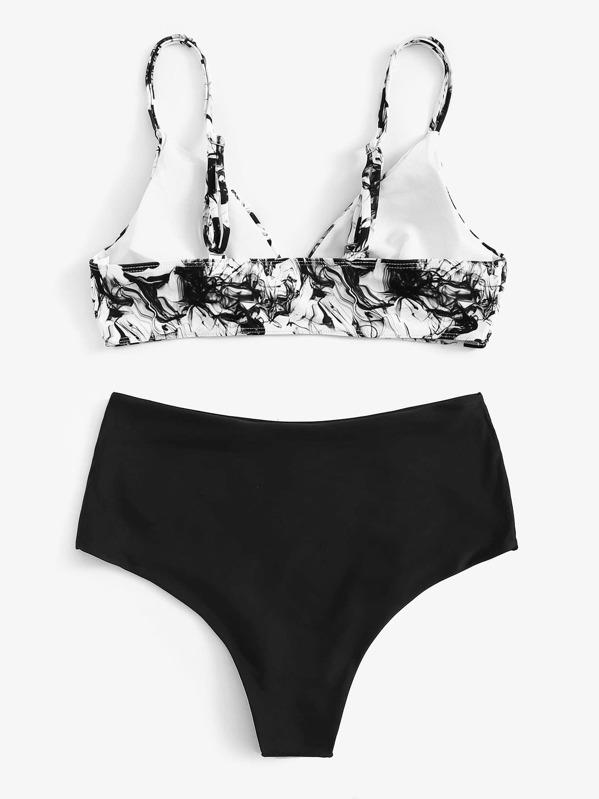 Tinta Alto Bikini Pintura Grande Estampado Con Talle De SpzUVqM