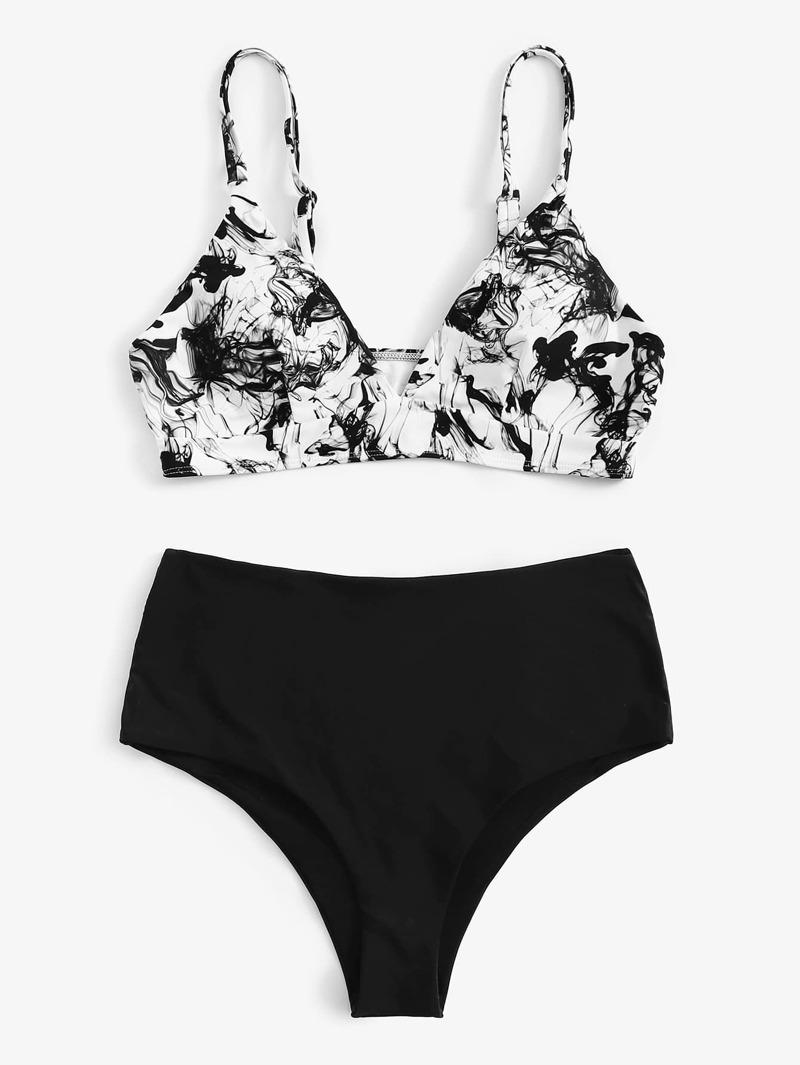 d89db428c757 Bikini con estampado de pintura de tinta con talle alto-grande