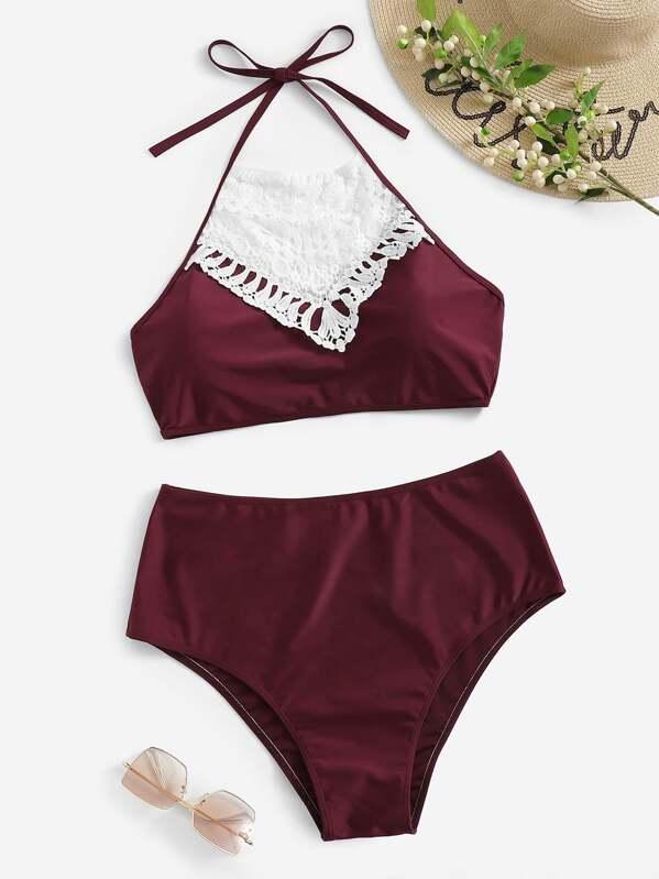 df65b5a270e7 Bikini de croché con talle alto-grande